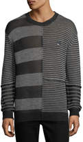 McQ Patched-Stripe Linen Sweater