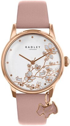 Radley Botanical Floral White and Rose Gold Dog Charm Dial Pink Leather Strap Ladies Watch