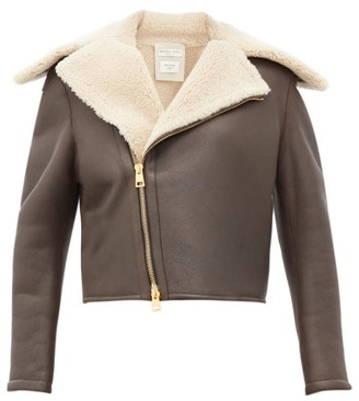 Bottega Veneta Shearling And Leather Jacket - Womens - Brown Multi