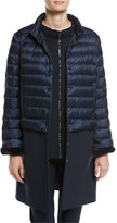 Escada Wool-Paneled Puffer Coat with Mink Cuffs