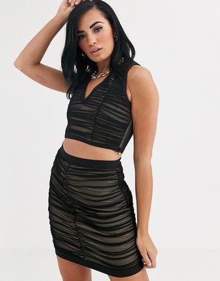 The Girlcode ruched bandage crop top two-piece-Black