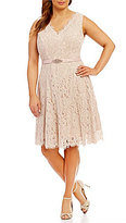 Jessica Howard Plus V-Neck Lace Midi Dress