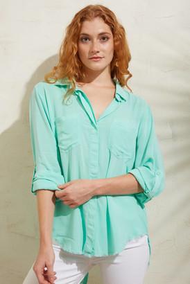 Velvet Heart Fray Hem Button Down Shirt Turquoise M