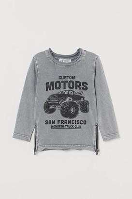 H&M Zip-detail Sweatshirt - Gray