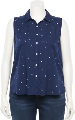 So Juniors' Plus Size Button Down Sleeveless Shirt