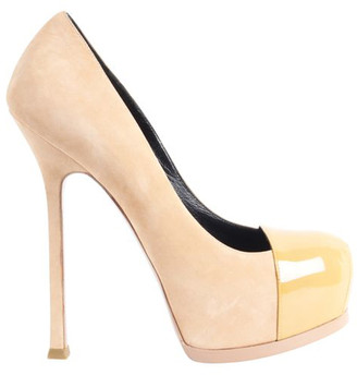 Saint Laurent Nude Suede And Patent Leather Toe Tribute Pumps Size 36.5