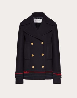 Valentino Embroidered Drill Wool Pea Coat Women Navy 100% Lana 36