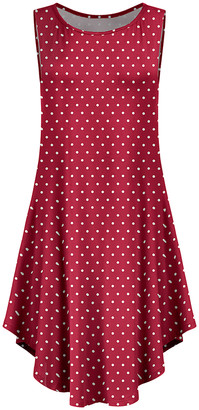Lily Women's Casual Dresses RED - Red & White Polka Dot Curved-Hem Sleeveless Dress - Women & Plus