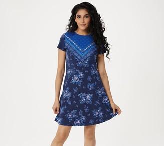 Isaac Mizrahi Live! Knit Engineered Border Floral Print Dress