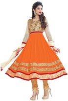 Sourbh Mirchi Fashion Women Orange Beige Indian Semi-Stitched Anarkali Suit Dress