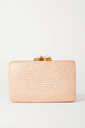 Kayu Jen Woven Straw Clutch - Blush
