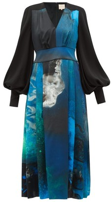 Roksanda Teruko Cosmic-print Balloon-sleeve Silk Dress - Womens - Blue Print