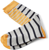 Frank + Oak Mixed Stripe Patterned Socks in Grey