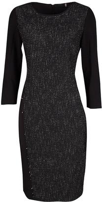 Elie Tahari Black Contrast Front Panel Detail Long Sleeve Dress M