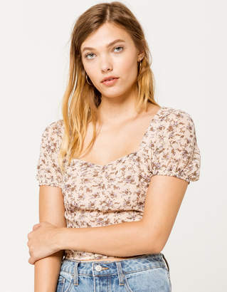 Ivy & Main Cinch Front Peasant Womens Top