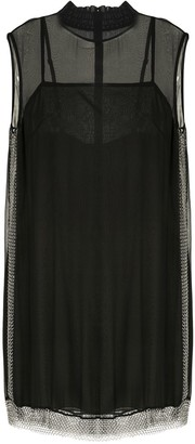 Vera Wang Chain-Mesh Trimmed Mini Dress