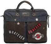 Diesel Denim & Felt Laptop Bag With Patches