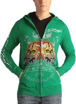 Ed Hardy Mens Racing Skull Zip Up Hooded Sweater - Grass