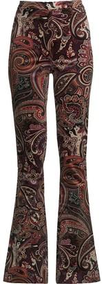 Nicole Miller Paisley Velvet Bell-Bottom Trousers