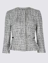 Marks and Spencer PETITE Cotton Blend Textured Blazer