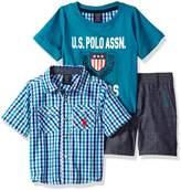 U.S. Polo Assn. Baby Boys' Sleeve Sport Shirt, T-Shirt and Twill Short Set