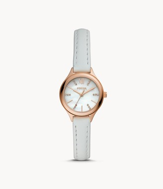 Fossil Suitor Mini Three-Hand White Leather Watch jewelry
