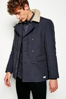 Jack Wills Glaton Double Breasted Quilted Peacoat
