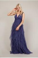 Thumbnail for your product : Little Mistress Bridesmaid Leonora Lavender Grey Ruffle Mesh Maxi Dress