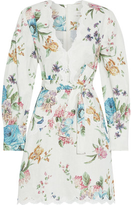 Zimmermann Ninety-six Scallop Broderie Anglaise-trimmed Floral-print Linen Mini Dress
