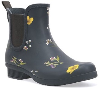 Chooka Women's Waterproof Flower Print Chelsea Rain Boot