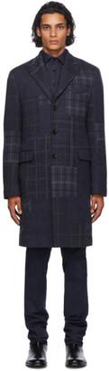Etro Navy Wool Check Coat