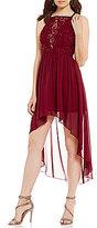 Xtraordinary Square Neckline Lace Bodice High-Low Dress