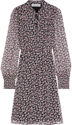 Diane von Furstenberg Leena Shirred Floral-print Silk-georgette Mini Dress