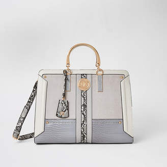 River Island Grey snake print metal handle tote bag
