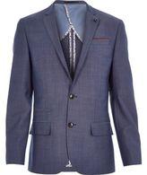 River Island MensBlue wool-blend slim suit jacket