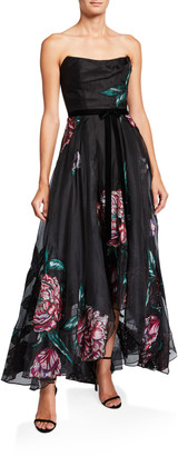 Marchesa Floral Embroidered Strapless High-Low Organza Gown w/ Ribbon Trim