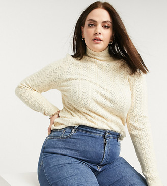 Fashion Union Plus high-neck jumper in cable knit