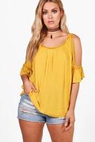 boohoo Plus Bianca Cold Shoulder Crochet Trim Top