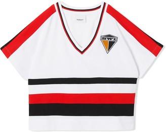 BURBERRY KIDS TEEN logo colour-block T-shirt