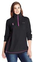 Columbia Women's Tested Tough In Pink Fleece Half Zip Plus Size
