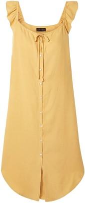 Hatch Ruffle-trimmed Slub Tencel And Linen-blend Midi Dress