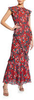 Saloni Tamara B Printed Ruffle Dress