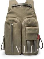 Valentino Garavani VLTN Leather-Trimmed Canvas Backpack
