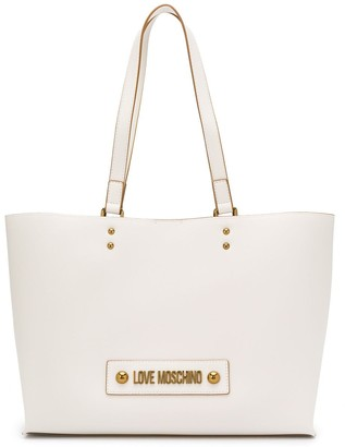 Love Moschino Logo Plaque Internal Compartment Tote Bag