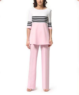 LADA LUCCI Women's Casual Pants Light - Light Pink & Black Stripe Color Block Tunic & High-Waist Pants - Women & Plus
