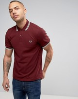 Fred Perry Slim Pique Polo Shirt Twin Tipped in Red