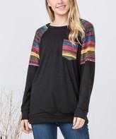 egs by eloges Women's Tunics BLACK - Black & Pink Stripe Trim Front-Pocket Tunic - Women & Plus