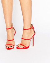 Public Desire Aisha Red Strappy Heeled Sandals