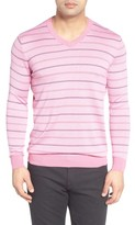 Bugatchi Men's Stripe Silk Blend Sweater