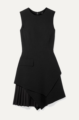 Oscar de la Renta Layered Pleated Grain De Poudre Wool-blend Mini Dress - Black